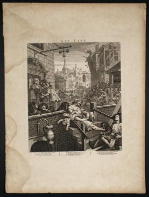 Gin Lane 1751 by William Hogarth 1697-1764